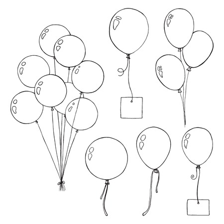Set of different balloons. Inflatable balls on a string. Inflatable balloons with a card for text. Sketch Ilustração