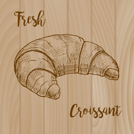 Fresh croissant on wooden background. Vector illustration of a sketch style.