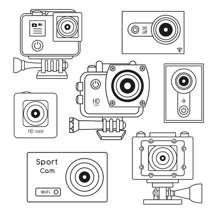 Set the sport camera, action camera isolated on white background. Vector illustration in line style