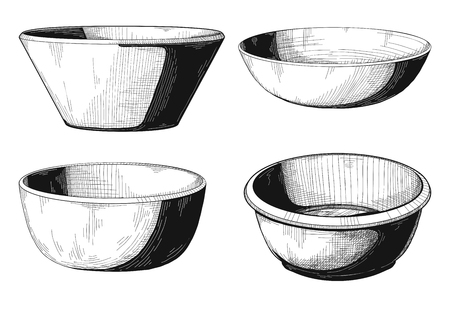Set of bowls. Bowl isolated on white background. Vector.