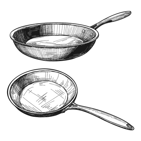 Two skillets isolated on white background. Vector illustration