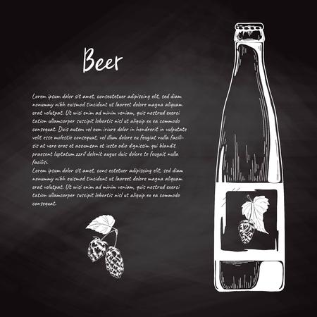 Beer bottle in sketch style. Vector illustration for bar menu. 向量圖像