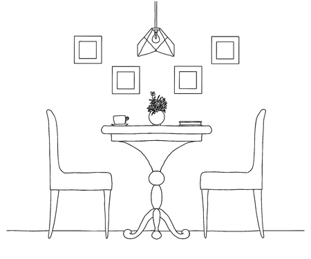 Part of the dining room. Round table and chairs.On the table vase of flowers.  Hand drawn sketch.Vector illustration Vettoriali