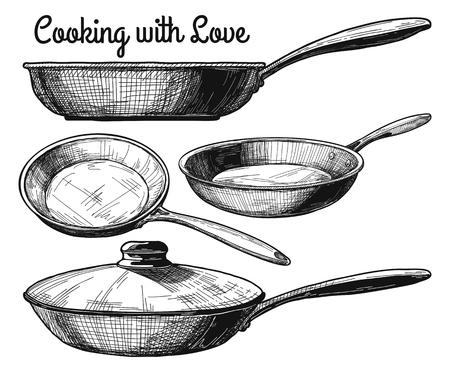Set of frying pan isolated on white background. Vector illustration.