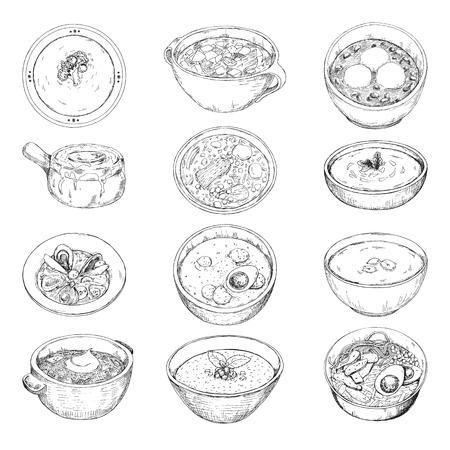 Zestaw różnych zup. Ilustracja wektorowa w stylu szkicu.