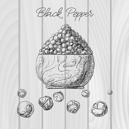Grains of black pepper in a wooden bowl. Hand drawn black pepper. Vector illustration of a sketch style.