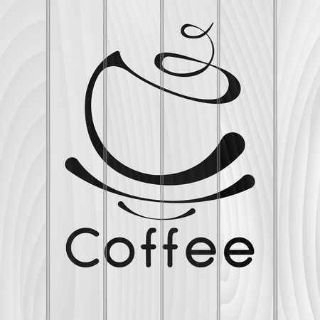 Coffee logotype. Stylized coffee cup icon on wooden background. Vector illustration Ilustrace