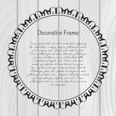 Vintage round frame on wooden background. Vector illustration. Stock Illustratie