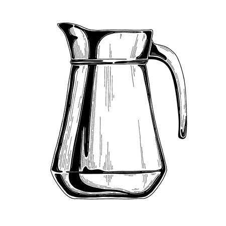 Croquis réaliste d'une cruche. Illustration vectorielle.
