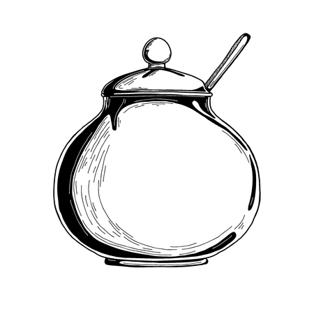 Realistic sketch of the sugar bowl. Vector illustration