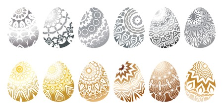 Set of different colored easter eggs. Vector illustration Çizim