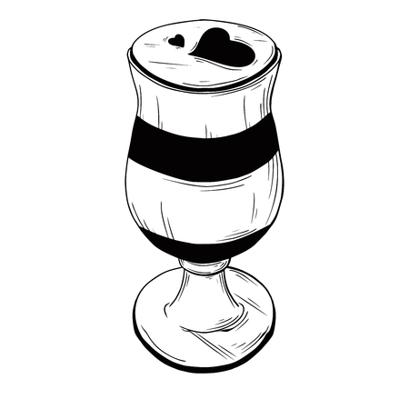 Hand drawn coffee cocktail isolated on white background. Vector illustration of a sketch style.