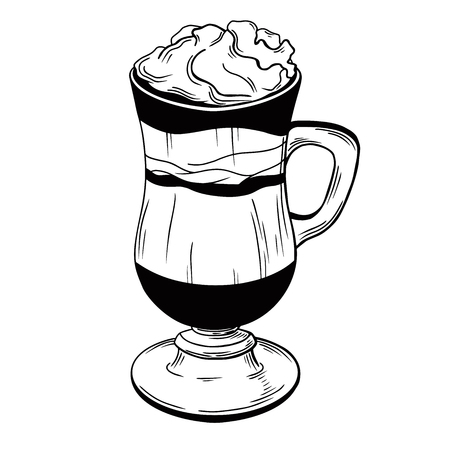 Coffee cocktail isolated on white background. Vector illustration of a sketch style. 写真素材 - 124721345