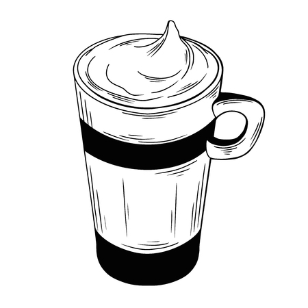 Coffee cocktail isolated on white background. Vector illustration of a sketch style. 写真素材 - 124721347