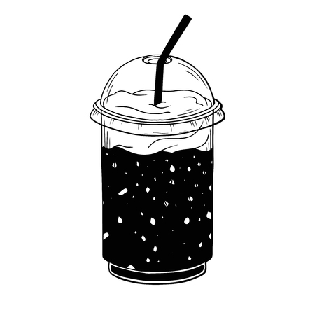 Cocktail in a plastic cup. Vector illustration in sketch style