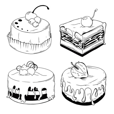 Set of cakes. Sweets isolated on a white background. Vector 向量圖像