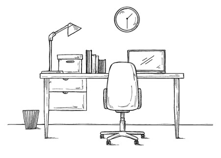 Sketch the workplace in front of the computer. Vector illustration Illustration