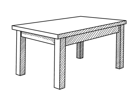 Realistic sketch of the table in perspective. Vector illustration