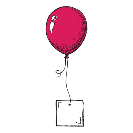 Inflatable balloons with a card for text. Sketch  イラスト・ベクター素材
