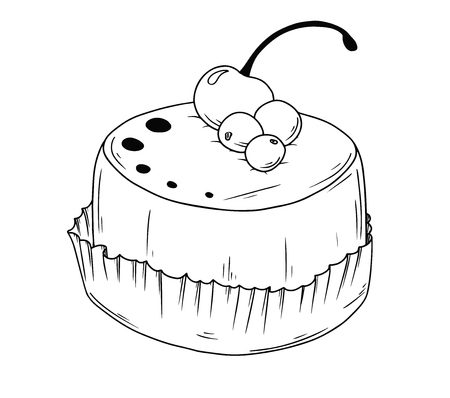 Cake with cherry. Sketch of cupcake isolated on white background. Vector