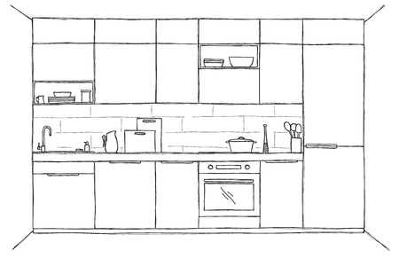 Sketch of the kitchen, front view. Vector illustration
