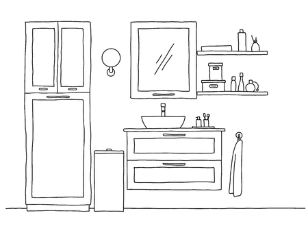 Sketch the bathroom. Bathroom furniture and washbasin. Vector Standard-Bild - 124721380
