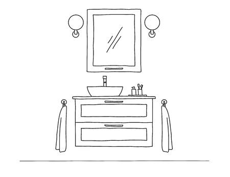 Maak een schets van de badkamer. Badkamermeubel en wastafel. Vector
