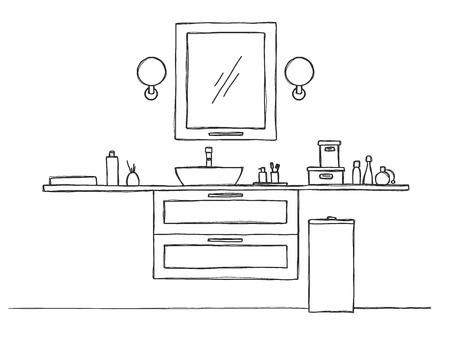 Sketch the bathroom. Bathroom furniture and washbasin. Vector Standard-Bild - 124721382