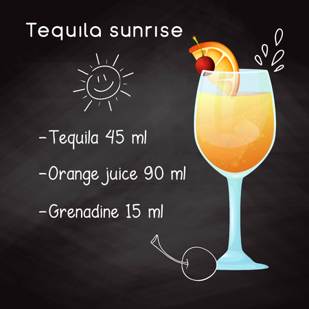 Simple recipe for an alcoholic cocktail Tequila Sunrise. Drawing chalk on a blackboard.