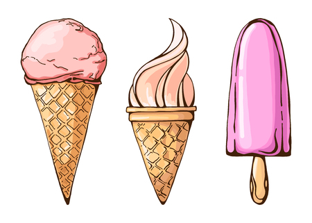 Color sketch of ice cream. A set of different ice cream. Vector