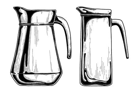 Realistic sketch of a jug. Vector illustration. Ilustración de vector
