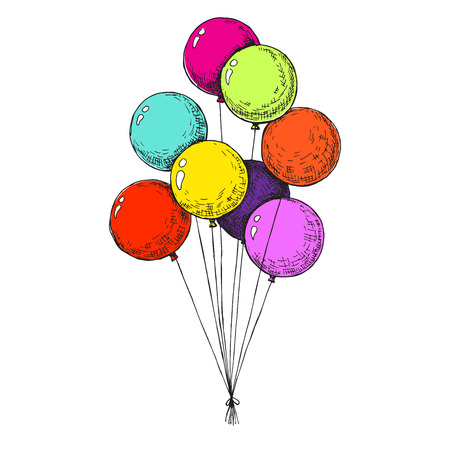 Group of balloons on a string. Hand drawn, isolated on a white background. Vector illustration - Vector  イラスト・ベクター素材
