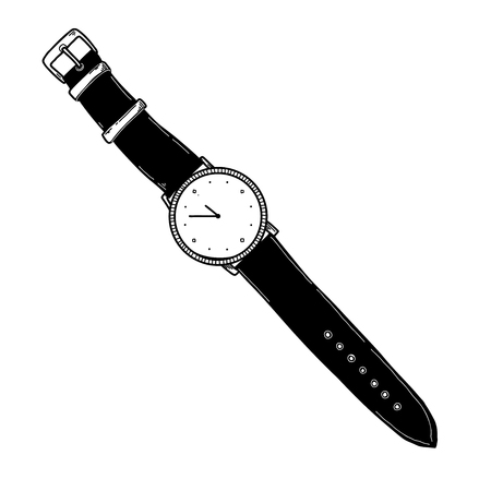 Realistic sketch of a watch. Wristwatches on the strap. Vector