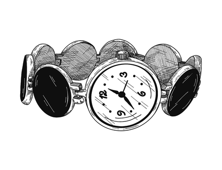 Realistic sketch of a watch. Wristwatches on a metal bracelet. Vector