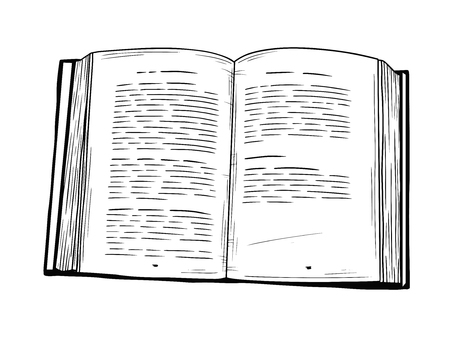 Realistic sketch of an open book. The book is isolated on a white background. Vector illustration