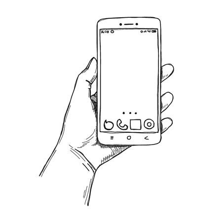 Sketch hands with the phone isolated on a white background. Vector illustration.