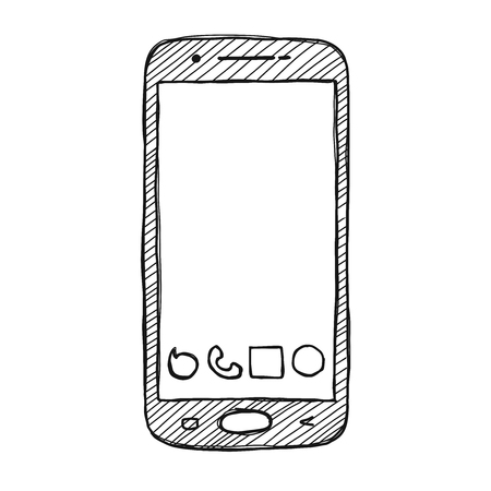 Naszkicuj smartfon. Telefon jest izolowany na białym tle. Ilustracja wektorowa.