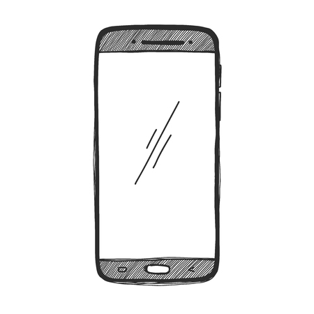 Sketch smartphone. The phone is isolated on a white background. Vector illustration. Vettoriali