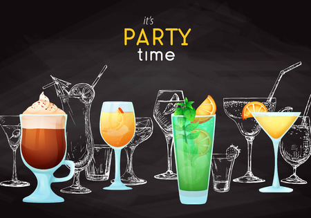 Background with different cocktails. Drawing chalk on a blackboard. Caption: its party time. Place on your text. Vector illustration