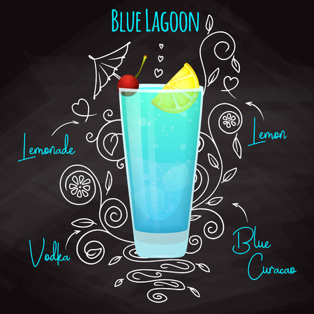 Simple recipe for an alcoholic cocktail Blue Lagoon. Drawing chalk on a blackboard. Vector illustration