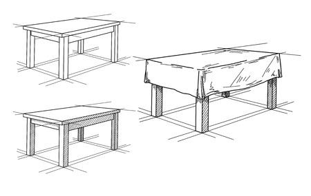 Boceto realista de diferentes tablas en perspectiva. Mesa puesta. Ilustración vectorial