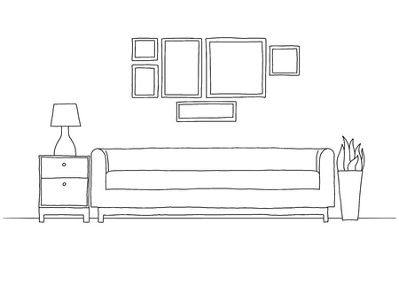 Croquis linéaire de l'intérieur dans un style moderne. Vecteurs