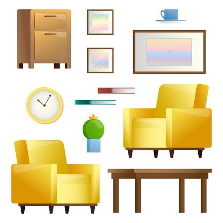Conjunto de diferentes elementos interiores. Sala de estar. Ilustración de vector de estilo plano.