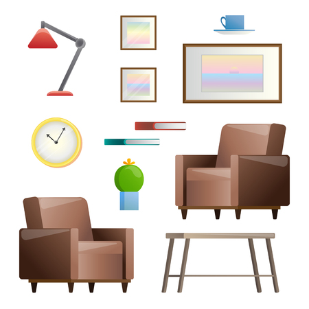 Ensemble de différents éléments intérieurs. Le salon. Illustration vectorielle dans un style plat.