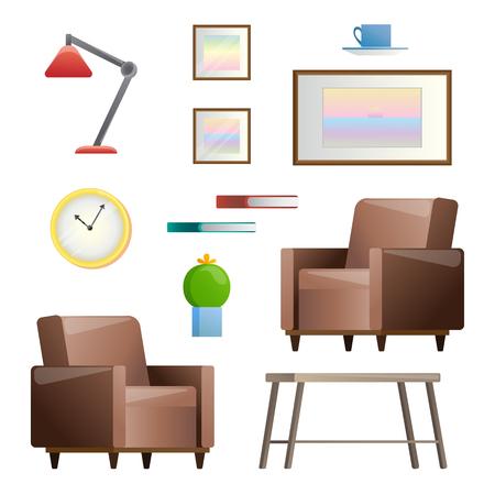 Insieme di diversi elementi interni. Salotto. Illustrazione vettoriale in stile piatto.