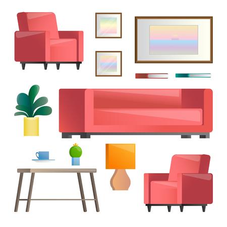 Conjunto de diferentes elementos interiores. Sala de estar. Ilustración de vector de estilo plano. Ilustración de vector