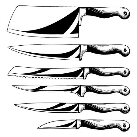 Set of different kitchen knives. Realistic sketch. Vector Illusztráció