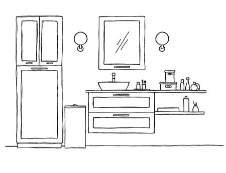 Sketch the bathroom. Bathroom furniture and washbasin. Vector