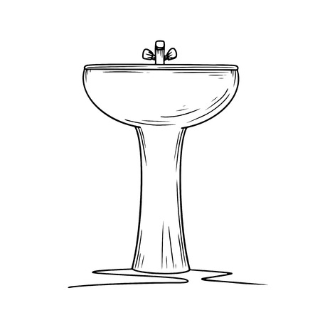 Ceramic washbasin on a white background. Cartoon sink with faucet. Vector