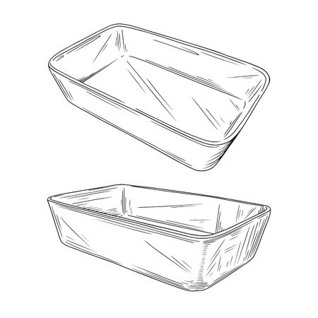 Sketch different types of baking pans isolated on white background. Vector illustration